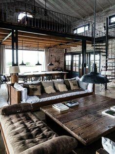 salon intérieur industriel, table en bois massif, aménagement salon rectangulaire