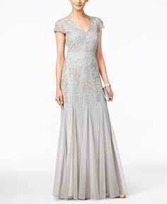 Adrianna Papell Cap-Sleeve Beaded V-Neck Gown - Dresses - Women - Macy's