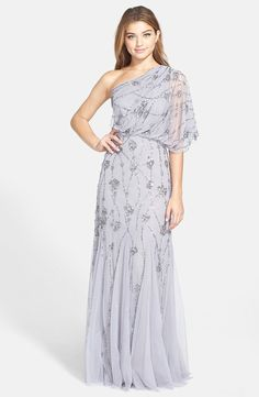 Adrianna Papell Beaded One Shoulder Blouson Gown | Nordstrom