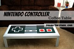 DYI Nintendo Controller Coffee Table with stencil templates. Fun idea for an entertainment room!