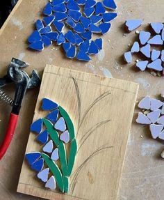 Work in progress - it's all about bluebells in the studio at the mo - am making an extra one if anyone is interested . Mosaic Tile Art, Mosaic Artwork, Mosaic Diy, Mosaic Garden, Mosaic Glass, Tile Crafts, Mosaic Crafts, Mosaic Projects, Mosaic Designs
