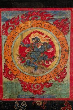 Thangka of Mahakala (Buddhist Protector) - Panjaranata - Retinue Figure (Himalayan Art) Tibet Art, Buddhist Art, Museum Collection, Tantra, Deities, Buddhism, Cosmic, Vintage World Maps, Mandala