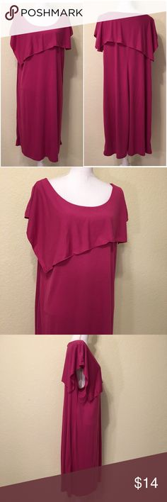 """NWOT Pink Scoop Neck Jersey Dress NWOT Pink Scoop Neck Jersey Dress.  Size 2X.  No brand.  Tank dress with asymmetric drape.  Length shoulder to hem: 42.5"""".  Bust: 52"""".  Waist: 52"""".  Bottom of dress: 66"""" around.  65% polyester, 35% rayon.  Machine wash.    Love it but not the price - I'm open to (reasonable) offers or consider bundling 2 or more items for an additional 15% off and combined shipping!    Check out my reviews - I only sell great quality items! Dresses"""