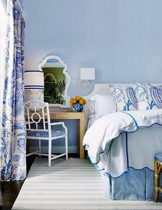 blue bedroom: blue walls, blue and white bedding and curtains, blue and white striped rug Blue Rooms, White Rooms, Blue Bedroom, Bedroom Decor, Blue Walls, Pretty Bedroom, Bedroom Bed, Bed Room, Master Bedroom