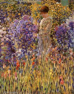 Frederick Carl Frieseke was an American Impressionist painter who spent most of his life as an expatriate in France. An influential member of the Giverny art colony, his paintings often concentrated on various effects of dappled sunlight. American Impressionism, Post Impressionism, Garden Painting, Garden Art, Fondation Claude Monet, Acrylic Painting Lessons, Photos Voyages, Impressionist Paintings, Art Moderne