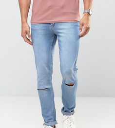 CHEAP MONDAY JEANS TIGHT SKINNY FIT STONEWASH BLUE RIPPED KNEE - BLUE. #cheapmonday #cloth #