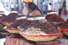 Chapulines (grasshoppers) - An ancestral tradition in Oaxaca. The word chapulin is specific to Mexico and derives from the native Nahuatl language.  They have been collected and eaten as a food source for thousands of years and are known as comida prehispanica, or prehispanic food. They are served alone as a street snack, or in the cantinas with an ice cold beer, or in tacos with guacomole and salsa.