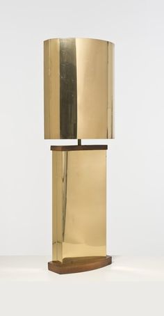 Curtis Jere; Wood and Brass Table Lamp, c1970.
