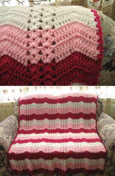 White Chocolate Strawberry Double-Shell Ripple, free pattern by Roseanna Beck  . . . .   ღTrish W ~ http://www.pinterest.com/trishw/  . . . .  #crochet #afghan #blanket #throw