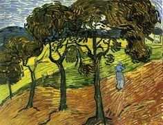 Landscape with Trees and FiguresbyVincent van Gogh   Size: 65.4x49.9 cm Medium: oil on canvas