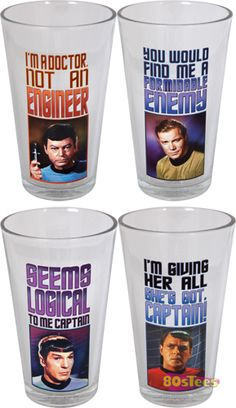 Perfect for fans of the original series run, this Star Trek Pint Glass set features Captain Kirk, Mr. Spock, Dr. McCoy and Mr. Scott.