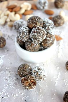 Date, Chia and Coconut Energy Bites  Light and subtly sweet with a hint of nuttiness.  All natural, vegan and paleo friendly - To die for