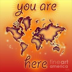 World Map Amuza with 'You Are Here' text In Red Yellow And Orange by elevencorners. World map wall print decor. #elevencorners #mapamuza