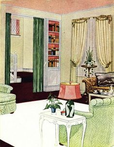 Living Room featuring Kirsch venetian blinds & draperies from Home Owners' Catalog (1940) | Flickr - Photo Sharing!
