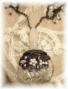 Perfume Bottle Necklace Soldered 1 by trashtotreasureart on Etsy, $64.00