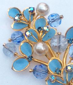 Kramer Brooch Pearl Crystal Rhinestone Blue Enamel by OurBoudoir