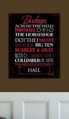 Personalized Ohio State Buckeyes Print or Canvas We are inspired by making art thats personal to a family, the tradition and loyalty to a team runs deep! Our customers love giving the prints and canvases as gifts, its personal and meaningful! Customize with your favorite players, championships, sayings etc. We will make this truly yours! ***About the Prints & Canvases*** PRINTS - Our Prints are professionally printed on high quality photo paper - The print comes ready to be framed, th...