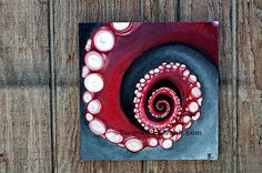 """40"""" square canvas print: Octopus tentacle spiral in red or yellow detail and other originals"""