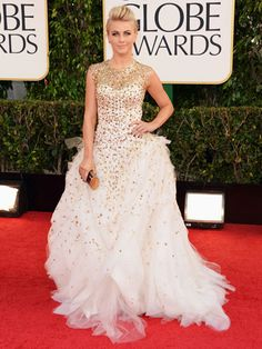 Julianne Hough rocked a jewel encrusted Monique Lhuillier gown at the 2013 Golden Globes