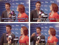 Marvel: The Avengers Cast - Hawkeye - Jeremy Renner and Black Widow - Scarlett Johansson