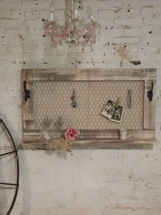 Painted Cottage Chic Shabby Large Jewelry by paintedcottages Repurposed Furniture, Shabby Chic Furniture, Painted Furniture, Diy Furniture, Shabby Chic Homes, Shabby Chic Decor, Palette Deco, Chicken Wire Frame, Jewelry Holder