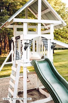"""DIY Swing Set Makeover I read somewhere a few years ago about the """"backyard season of life"""", & it never rang true til the last couple of . Outdoor Swing Sets, Outdoor Play, Backyard Playset, Wooden Swings, Play Yard, Backyard For Kids, Kid Playroom, Playroom Design, Kids Room"""