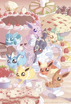Eeveelution Tea Party by *jiggly. Eevee always was my favorite.