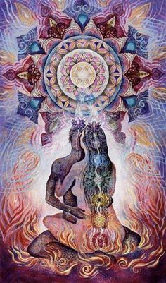 """""""Only through a deep tantric awareness does the sex act completely disappear, and a deep ecstasy is revealed. So tantra says it is you: if you can bring meditation to your love, to your sex, the sex is transformed. Tantra, Beltane, Psychedelic Art, Wicca, Magick, Art Visionnaire, Twin Souls, Psy Art, Visionary Art"""