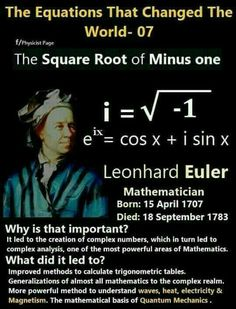 The Square Root of Minus One Mathematically, the complex numbers are supremely elegant. Algebra works perfectly the way we want it to - any equation has a complex number solution, a situation that is not true for the real numbers : + 4 = 0 has no real Theoretical Physics, Physics And Mathematics, Leonhard Euler, Complex Numbers, Real Numbers, Physics Formulas, Pseudo Science, Physical Science, Love Math