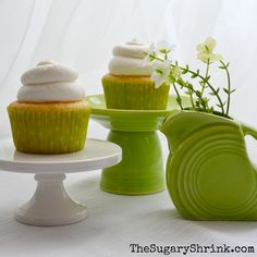 "The Sugary Shrink:  ""The Homer Laughlin Fiesta Dinnerware mini-disc pitcher is just the right size to pair with a matching set of cupcakes."""