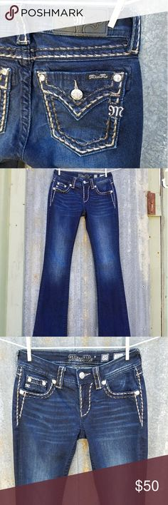 Miss Me Jeans Mid Rise Boot Dark 25 x 34 Like new. Miss Me boot cut / mid rise / dark wash. Size 25 x 34 / cotton 88% / polyester 10% / elastane 2% / style # MS50148181 Miss Me Jeans Boot Cut
