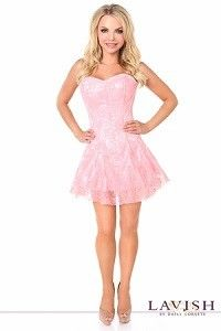 291d44a93dd Get a little girly in this plus size light pink satin corset dress with lace  overlay