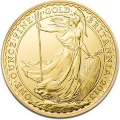 Britannia, 1oz Gold, 2013  The Gold Britannia Coin is a bullion gold coin containing one troy ounce of gold with a face value of £100 being first issued in 1987 by the Royal Mint. Like any other bullion gold coin, the Britannia Gold coin is also issued in denominations of 1/2 oz with a corresponding face value of £50, 1/4 oz having a face value of £25, and 1/10 oz with the respective £10 face value.