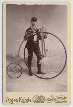 Ernst A. Erickson with a Columbia bicycle. He was a member of the Columbia Wheelmen Bicycle Club, c. 1890.