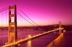 Long exposure photo of the Golden Gate Bridge in San Francisco captured at dawn right before sunrise. HDR composite from multiple exposures and variant of this image processed with bold pink colors in the sky and water for a more romantic atmosphere. Puente Golden Gate, Love Bridge, San Francisco, Paper Houses, Nature Scenes, World Cultures, Golden Gate Bridge, Art Studios, Sunrise