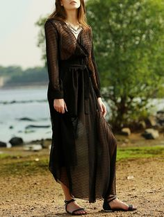 Trendy Plunging Neck Long Sleeve Black Belted Maxi Dress
