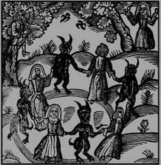 """Nathaniel Crouch - Witches and Demons creating a Circle, """"The Kingdom of Darkness"""", 1688."""