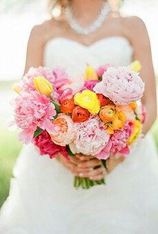 Lush Bridal Bouquet Comprised Of: Pink Peonies, Hot Pink Peonies, Peach English Garden Roses, Yellow Tulips, Yellow & Orange Ranunculus