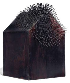 """Günther Uecker [Germany] (b ~ """"Sting House"""", Nails and plywood, polychromed black and red x x 33 cm). Find out more here: Günther Uecker : Hammering Passion © ART HuNTER . Abstract Sculpture, Sculpture Art, Op Art, Kitsch, Steel Sculpture, 3d Wall Art, Little Houses, Tiny Houses, Art Object"""