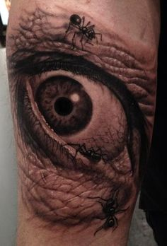 Best eye tattoo I've seen hands down. Incredible work by Timothy Boor. Creepy Tattoos, 3d Tattoos, Great Tattoos, Black Tattoos, Body Art Tattoos, Tatoos, Amazing Tattoos, Random Tattoos, Wicked Tattoos