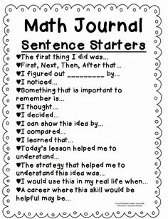 I use math journals in my Math Workshop. I like the idea of using Math Journal Sentence starters with my students. This would serve as a great way to incorporate writing in math and allow students to expand their thinking. Fourth Grade Math, First Grade Math, Grade 3, Second Grade, 2nd Grade Math Games, Math 2, Math Literacy, Literacy Skills, Free Math