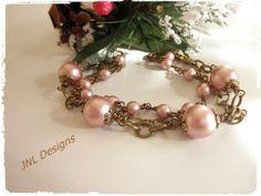 Feminine Rose Powder Pearl and Bronze Triple Strand Bracelet | jnldesigns - Jewelry on ArtFire