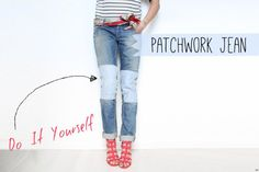 Jeans Makeovers - DIY Patchwork Jean - Easy Crafts and Tutorials to Refashion Your Jeans and Create Ripped, Distressed, Bleach, Lace Edge, Cut Off, Skinny, Shorts, and Painted Jeans Ideas http://diyprojectsforteens.com/diy-jeans-makeovers