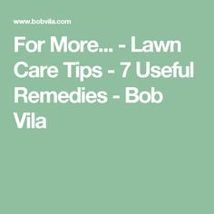 For More... - Lawn Care Tips - 7 Useful Remedies - Bob Vila