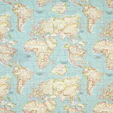 Buy John Lewis World Map Teflon Coated Tablecloth Fabric Online at johnlewis.com