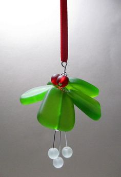 Recycled Sea Glass Mistletoe Ornament ~ Christmas Ornament ~ Green Seaglass Ornament ~ Beach Glass ~ Coastal Christmas ~ Cape Cod by ItsaColorfulLife on Etsy https://www.etsy.com/listing/219474795/recycled-sea-glass-mistletoe-ornament