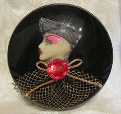 1940s Art Deco Celluloid Powder Box Jar With Pink Powder Puff