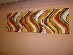 Fabric Wall Art Orange Red Green Blue Yellow Brown by WickedWalls, $55.00