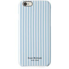 Isaac Mizrahi Sky Blue and White Railroad Stripe iPhone 6 Case found on Polyvore