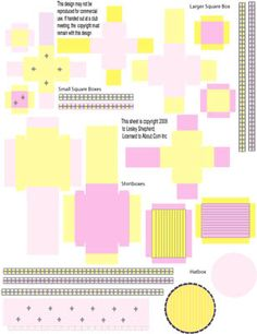 Make Printable Miniature Boxes for a Dolls House Scale Shop Scene: Sherbet Pink and Yellow Miniature Shop Boxes